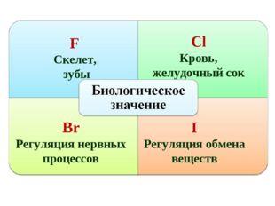 F Скелет, зубы Сl Кровь, желудочный сок Br Регуляция нервных процессов I Регу