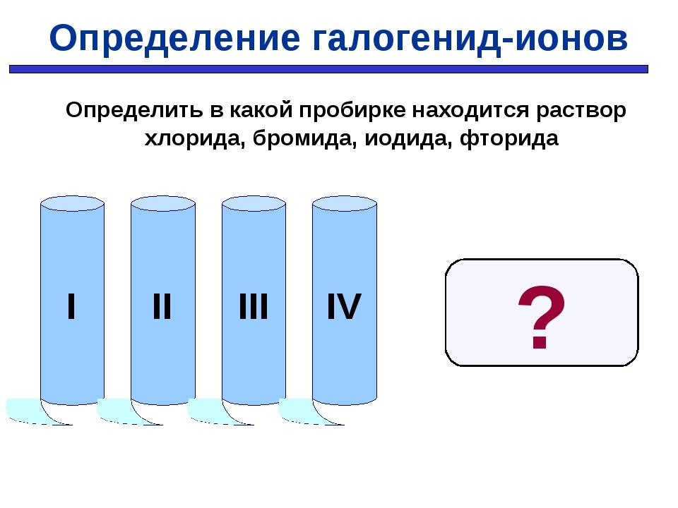 Определение галогенид-ионов Определить в какой пробирке находится раствор хло...