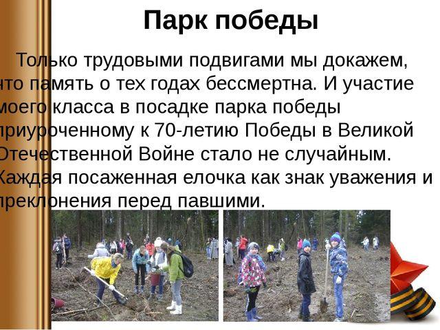 Парк победы Только трудовыми подвигами мы докажем, что память о тех годах бе...