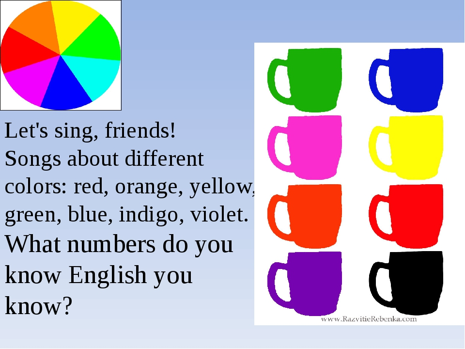 Let's sing, friends! Songs about different colors: red, orange, yellow, green...