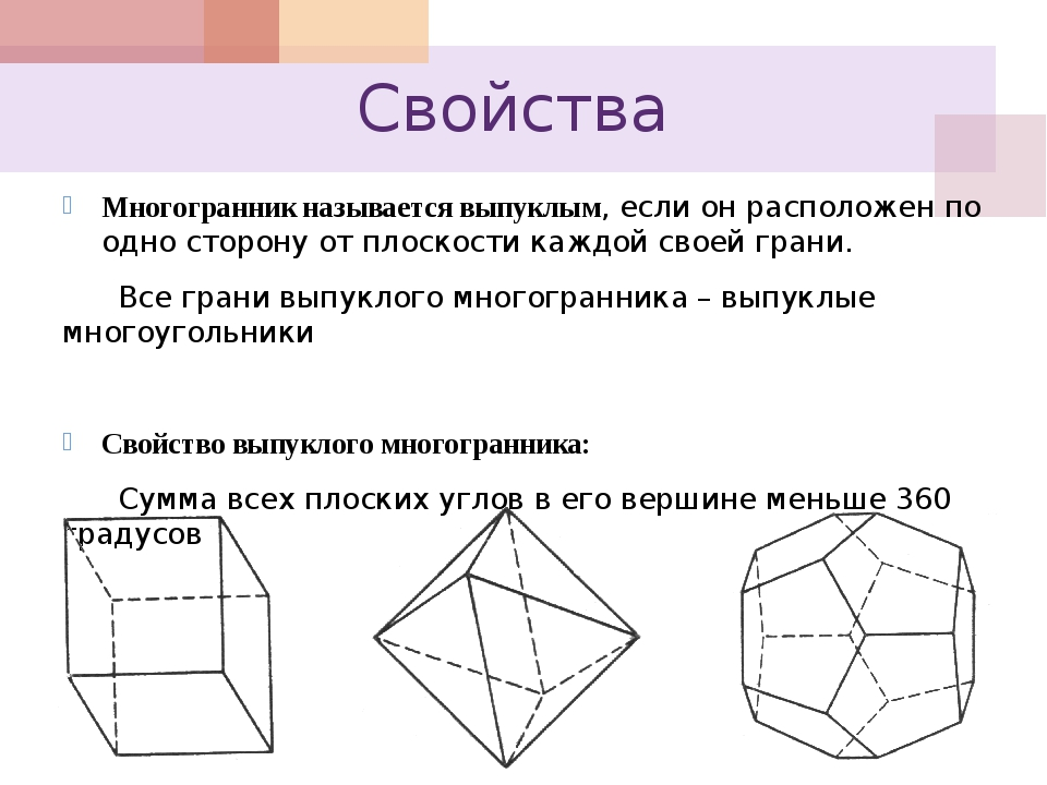 Свойства Многогранник называется выпуклым, если он расположен по одно сторону...
