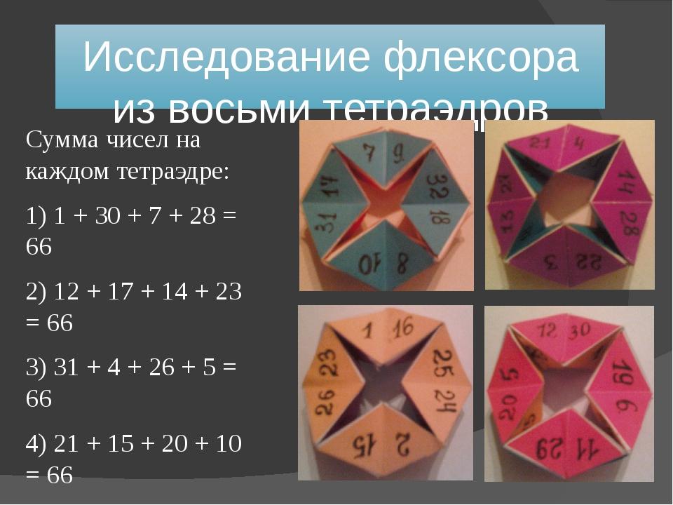 Исследование флексора из восьми тетраэдров Сумма чисел на каждом тетраэдре: 1...