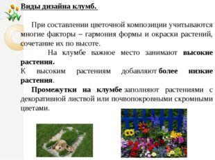 Виды дизайна клумб. При составлении цветочной композиции учитываются многие ф