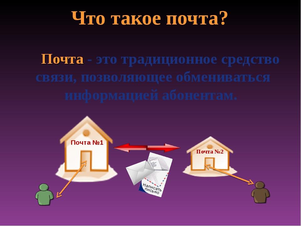 Что такое почта? Почта - это традиционное средство связи, позволяющее обменив...