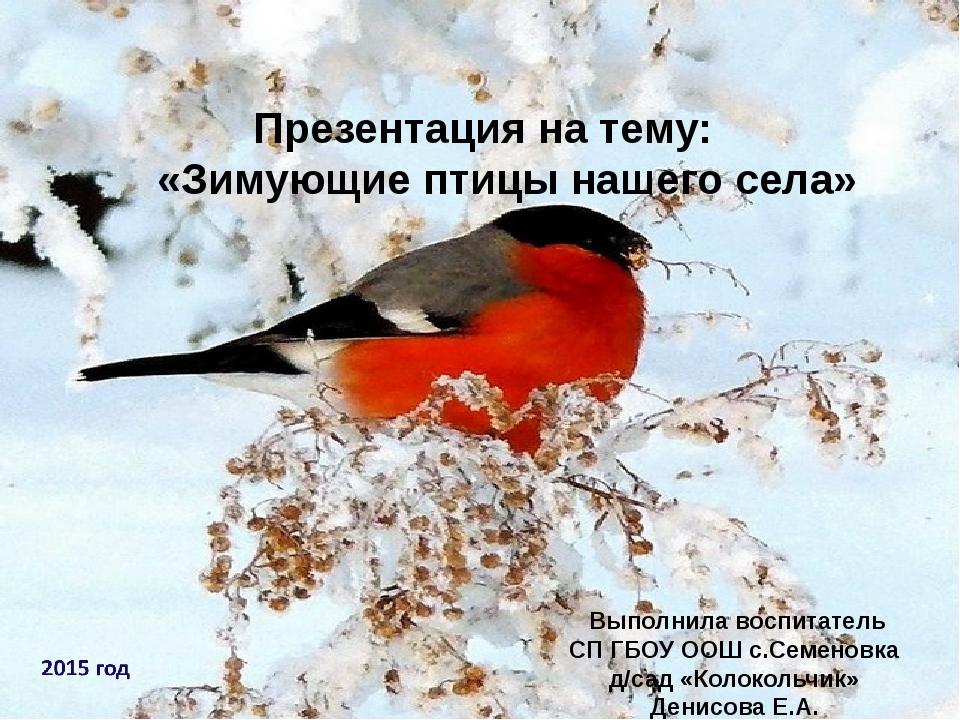 Презентация на тему: «Зимующие птицы нашего села» Выполнила воспитатель СП ГБ...
