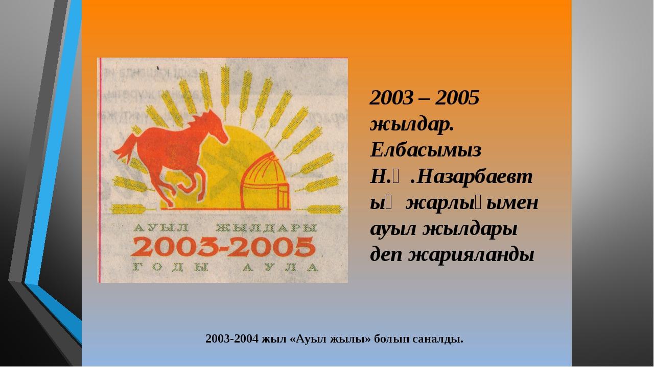 2003-2004 жыл «Ауыл жылы» болып саналды.