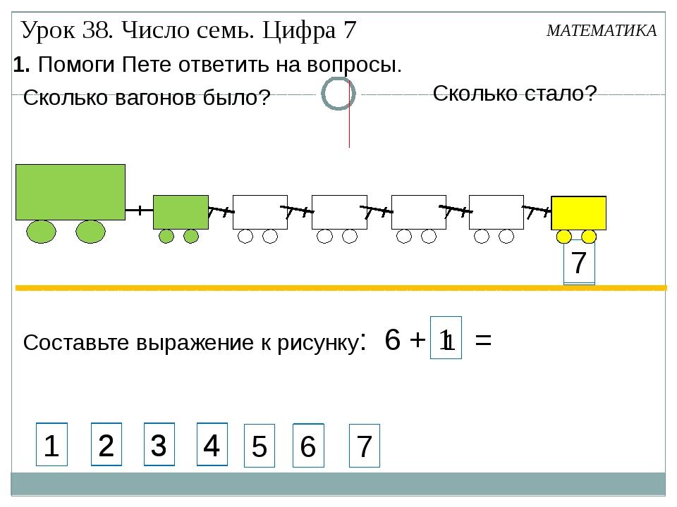 7 7 1. Помоги Пете ответить на вопросы. Составьте выражение к рисунку: 6 + 1...