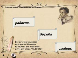 Слова частотного словаря лексики А.С.Пушкина радость дружба любовь Из частотн