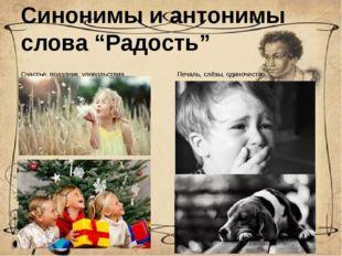 """Синонимы и антонимы слова """"Радость"""" Счастье, праздник, удовольствия... Печаль"""