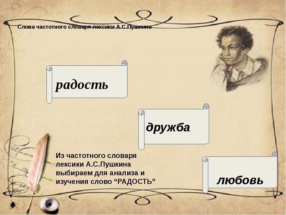 Слова частотного словаря лексики А.С.Пушкина радость дружба любовь Из частотн...