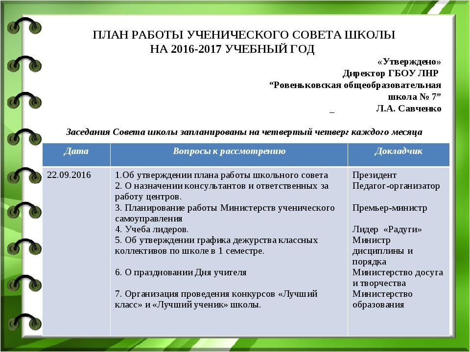 ПЛАН РАБОТЫ УЧЕНИЧЕСКОГО СОВЕТА ШКОЛЫ НА 2016-2017 УЧЕБНЫЙ ГОД «Утверждено»...