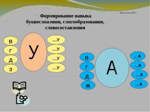 Формирование навыка буквосложения, слогообразования, словосоставления В Г Д