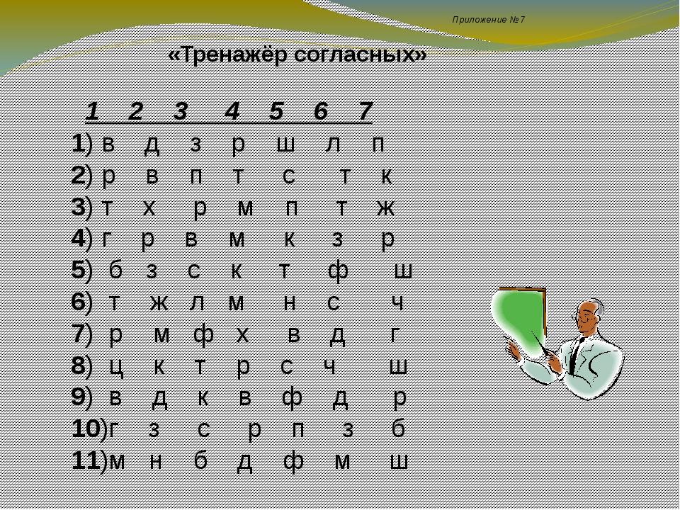 Приложение №7 «Тренажёр согласных» 1 2 3 4 5 6 7 1) в д з р ш л п 2) р в п т...