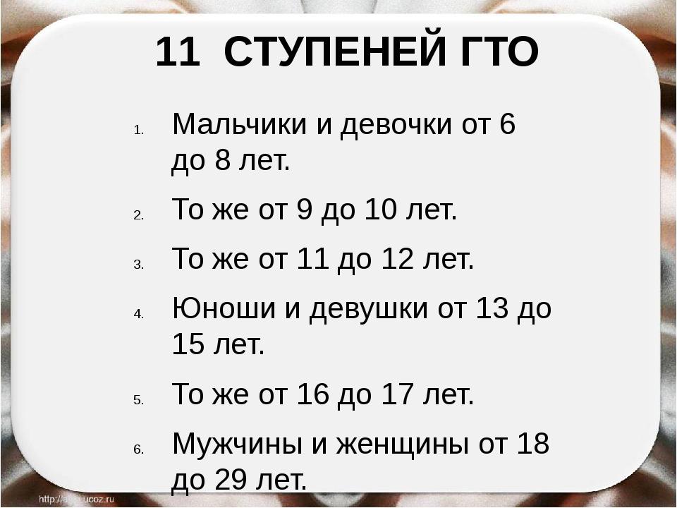 11 СТУПЕНЕЙ ГТО Мальчики и девочки от 6 до 8 лет. То же от 9 до 10 лет. То же...
