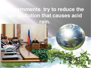 Governments try to reduce the air pollution that causes acid rain.