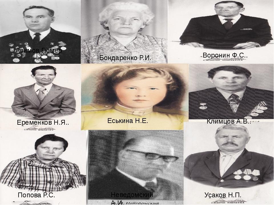 В Азимов Гюмер Бондаренко Р.И. Воронин Ф.С.. Еременков Н.Я.. Еськина Н.Е. Кли...
