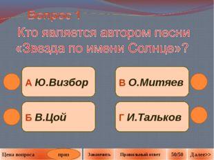 Б В.Цой Г И.Тальков В О.Митяев А Ю.Визбор приз