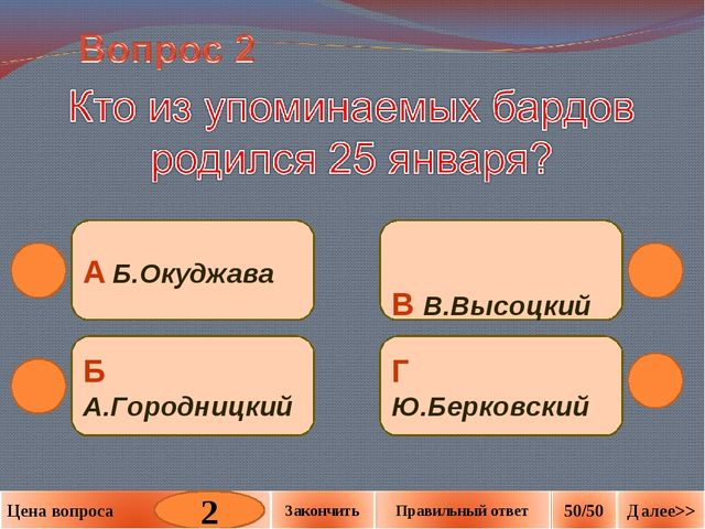 В В.Высоцкий Г Ю.Берковский Б А.Городницкий А Б.Окуджава 2