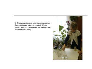 4. Следующим шагом моего исследования было внесение в каждую пробу 20 мл воды