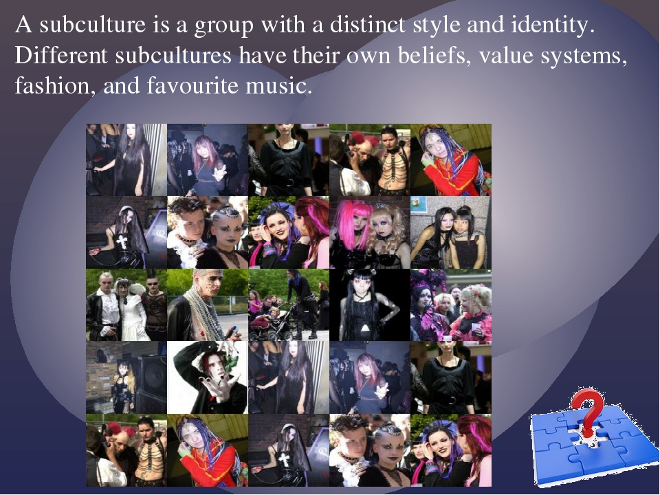 A subculture is a group with a distinct style and identity. Different subcult...