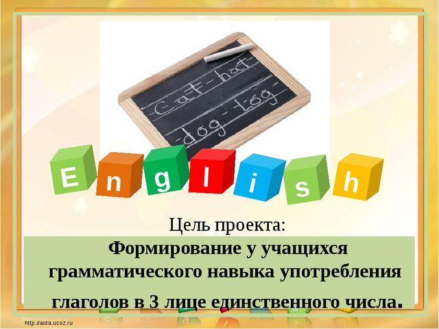 E n g l s i h Цель проекта: Формирование у учащихся грамматического навыка уп...