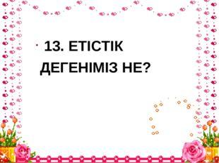 13. ЕТІСТІК ДЕГЕНІМІЗ НЕ?