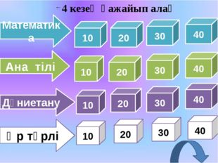 Математика Ана тілі Дүниетану Әр түрлі 20 30 40 20 30 40 20 30 40 20 30 40 4