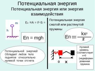 Потенциальная энергия Потенциальная энергия или энергия взаимодействия Eп =А