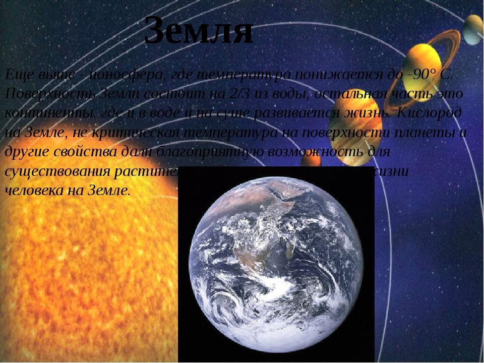 Земля Еще выше - ионосфера, где температура понижается до -90° C. Поверхност...