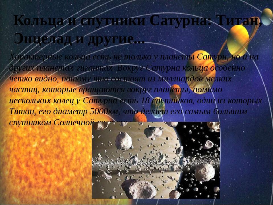 Кольца и спутники Сатурна: Титан, Энцелад и другие... Характерные кольца есть...
