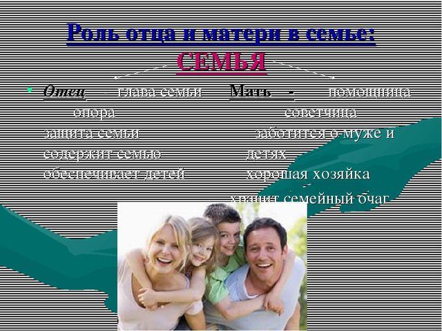 Роль отца и матери в семье: СЕМЬЯ Отец - глава семьи опора защита семьи содер...