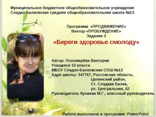Муниципальное бюджетное общеобразовательное учреждение Сладко-Балковская сред