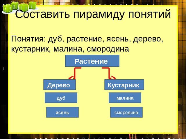Составить пирамиду понятий Понятия: дуб, растение, ясень, дерево, кустарник,...