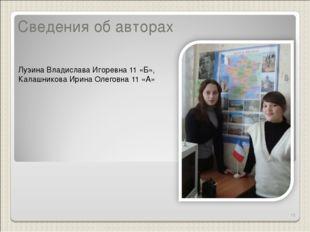 Сведения об авторах Лузина Владислава Игоревна 11 «Б», Калашникова Ирина Олег