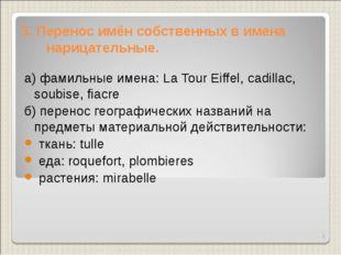 3. Перенос имён собственных в имена нарицательные. а) фамильные имена: La Tou