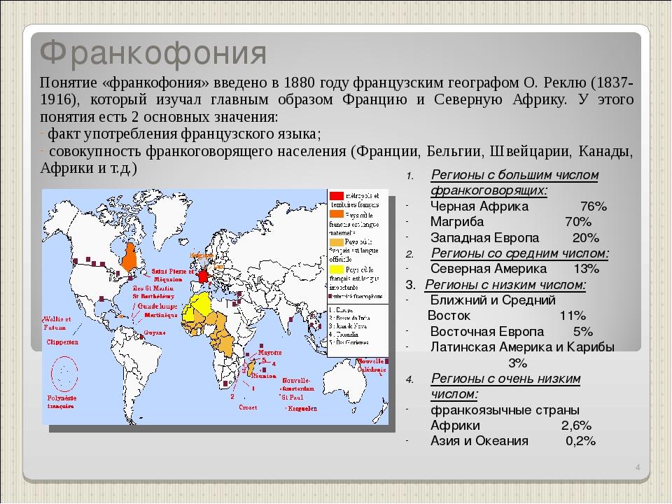Франкофония Понятие «франкофония» введено в 1880 году французским географом О...
