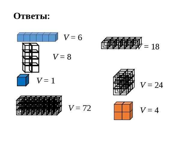 Ответы: V = 6 V = 8 V = 1 V = 72 V = 18 V = 24 V = 4