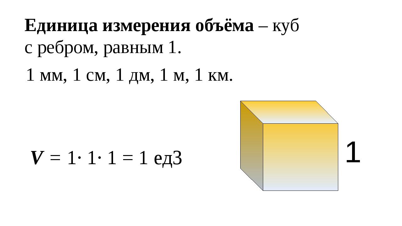 1 мм, 1 см, 1 дм, 1 м, 1 км. 1 V = 1· 1· 1 = 1 ед3 Единица измерения объёма...