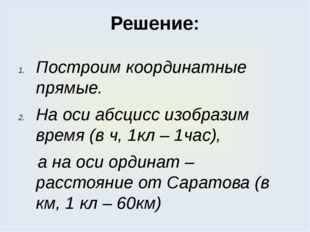 Решение: Построим координатные прямые. На оси абсцисс изобразим время (в ч, 1