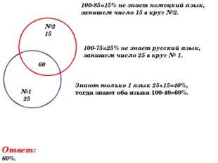 100-85=15% не знает немецкий язык, запишем число 15 в круг №2. №2 15 №1 25 10