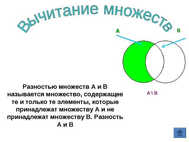 Разностью множеств А и В называется множество, содержащее те и только те элем...