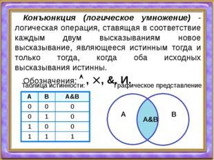 Конъюнкция (логическое умножение) - логическая операция, ставящая в соответст