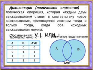 Дизъюнкция (логическое сложение) - логическая операция, которая каждым двум в