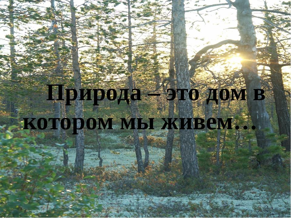Природа – это дом в котором мы живем…