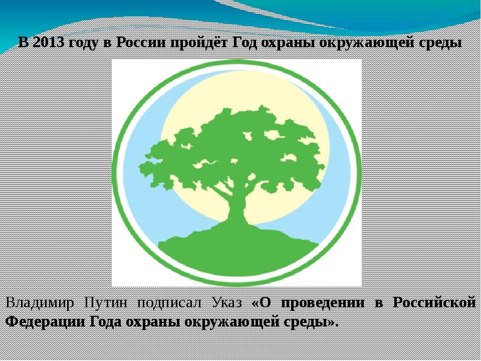 В 2013 году в России пройдёт Год охраны окружающей среды Владимир Путин подпи...