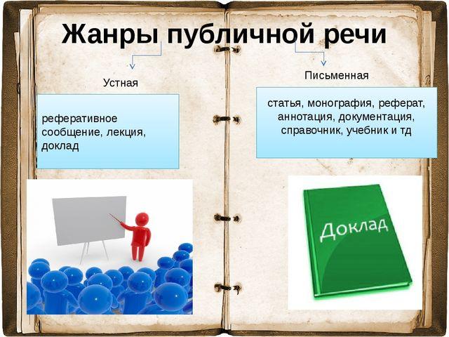 Жанры публичной речи Устная Письменная статья, монография, реферат, аннотация...