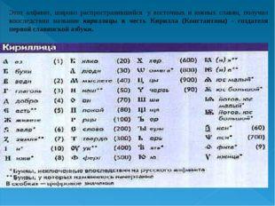 Этот алфавит, широко распространившийся у восточных и южных славян, получил