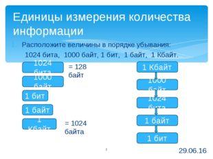 Расположите величины в порядке убывания: 1024 бита, 1000 байт, 1 бит, 1 байт,