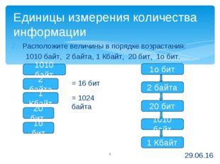 Расположите величины в порядке возрастания: 1010 байт, 2 байта, 1 Кбайт, 20 б