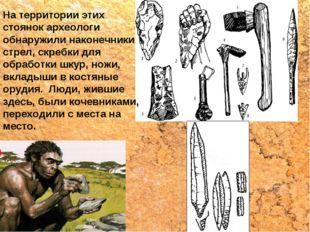 На территории этих стоянок археологи обнаружили наконечники стрел, скребки дл